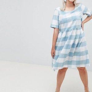 Junarose ASOS Check Short Sleeve Cotton Dress 16